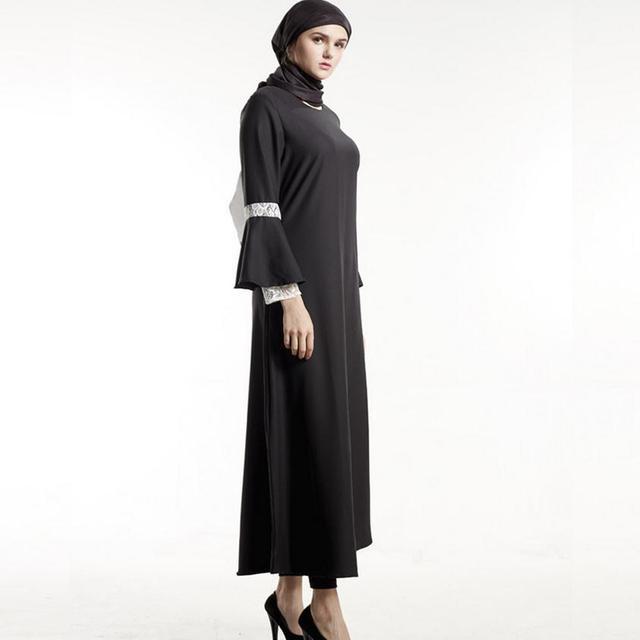 Adulte Musulman Arabe dentelle flare manches abaya de mode dubaï islamique  grande taille robe wj1030 réunion