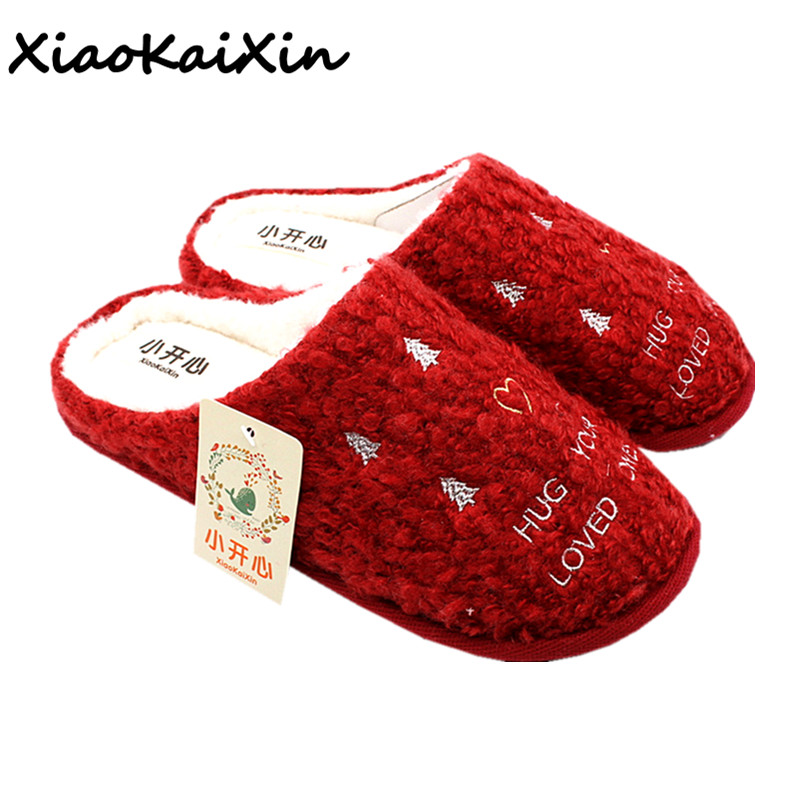 Ladies Red Christmas Slippers Women 2018 New Winter Warm Cotton Indoor Floor Home Shoes Christmas tree pattern House Shoes Gifts skidproof christmas baubles tree pattern rug