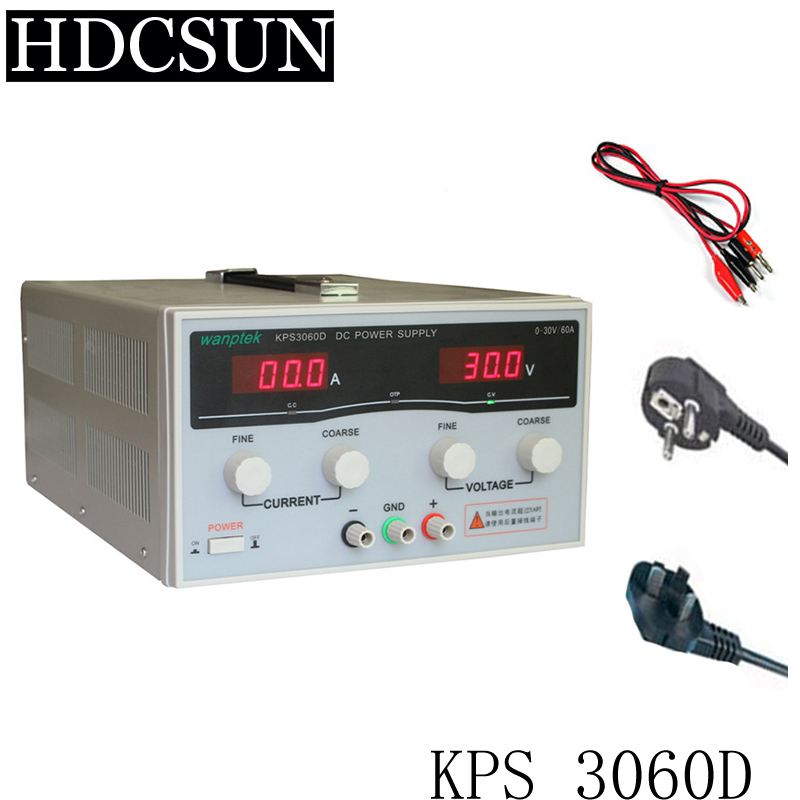 New KPS3060D High precision High Power Adjustable LED Dual Display Switching DC power supply 220V EU 30V/60A 0 30v 0 20a output brand new digital adjustable high power switching dc power supply variable 220v