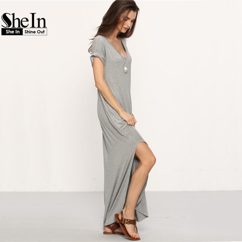 Шеин женские летние случайный сдвиг платья женская обычный серый v шеи с коротким рукавом закатанными манжеты карманы сплит макси платье