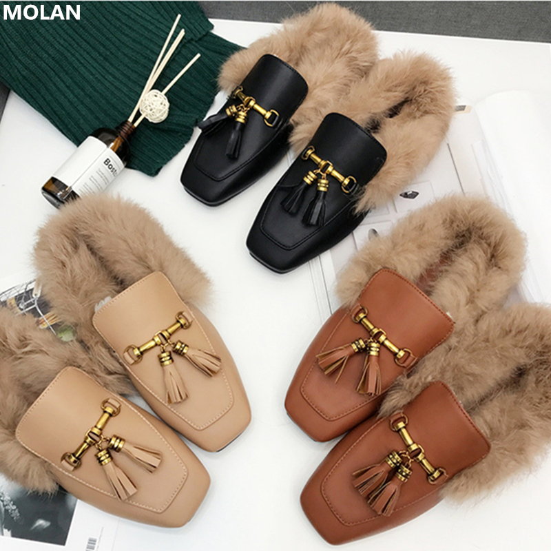 MOLAN Brand Designers 2018 Metal Chain Fringe Short Plush Warm Shoes Woman Flat Leather Slippers Fur Slides Loafers Mules 35 40