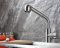 SUS304 Stainless Steel Pull Out Spring Kitchen Faucet Swivel Spout Vessel Sink Mixer Tape