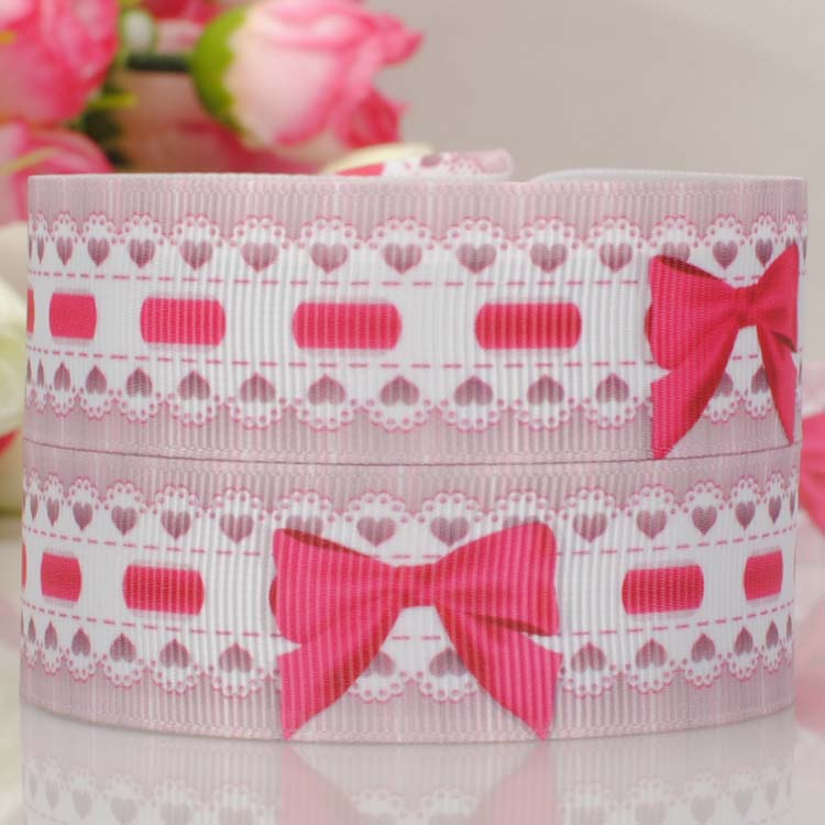 free shipping 50yards 78  22 mm cute pattern prints grosgrain ribbons tape for girl hairbow