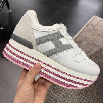 Paillette Sneakers Rainbow Height Increasing Shoes Woman Casual Laces up Platform Sneakers Girls Genuine Leather Ladies Shoes