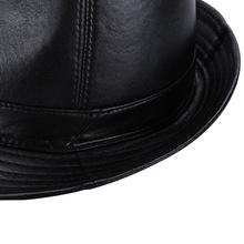 autumn winter Large brimmed hat stylish leather sheep skin leather hat men fedora unisex street cool Cowboy hat