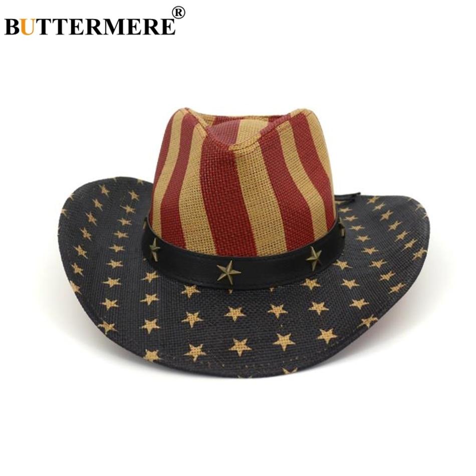 BUTTERMERE Homens Chapéu De Cowboy Do Vintage Bandeira Americana Retro  Ocidental Cowboy Chapéu de Palha Chapéu c93a4b1ba3b