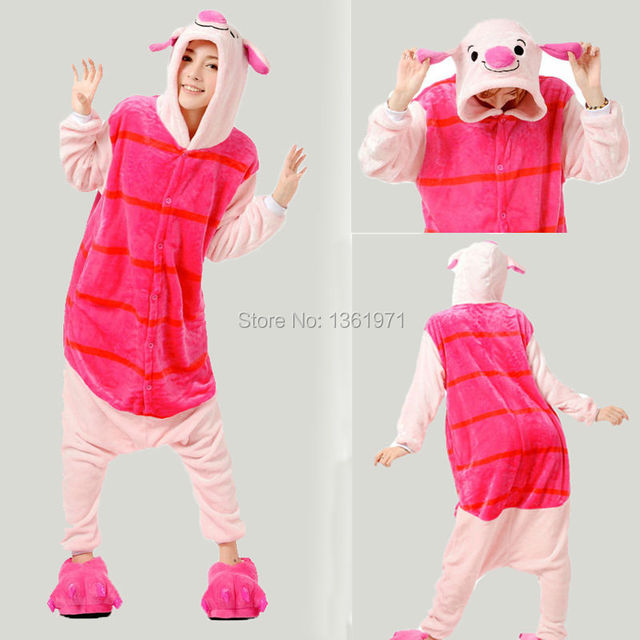 HKSNG Winter Women Men Adult Animal Piglet Pajamas Christmas Pig Onesies  Fire Dragon Costumes Homewear For Party a6328b07a0ac8