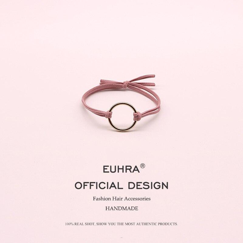 EUHRA 7 Colors Elastic Hair Bands Hoop Iron Ring High Elasticity Women Girls Childre Fashion Hair Accessories Scrunchie