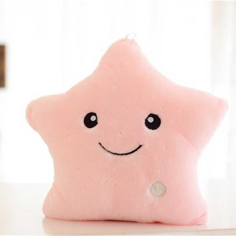 34 см креативная игрушка светящаяся Подушка Мягкая Плюшевая светящаяся красочная подушка со звездами светодиодные игрушки подарок для детей девочек