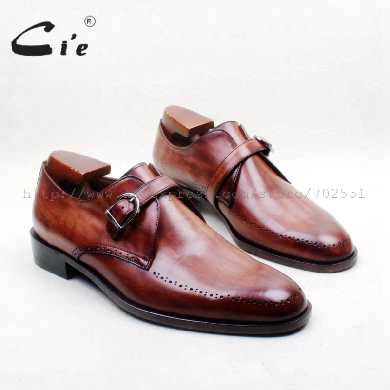 cie Round Toe Cut outs Single Monk Straps Hand Painted Brown 100 Genuine Calf Leather Bottom
