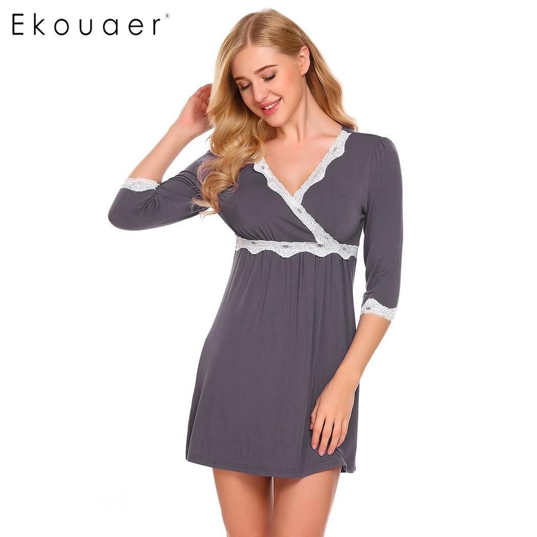 Ekouaer Women V Neck Maternity Nursing Sleepwear Nightdress Lace ...