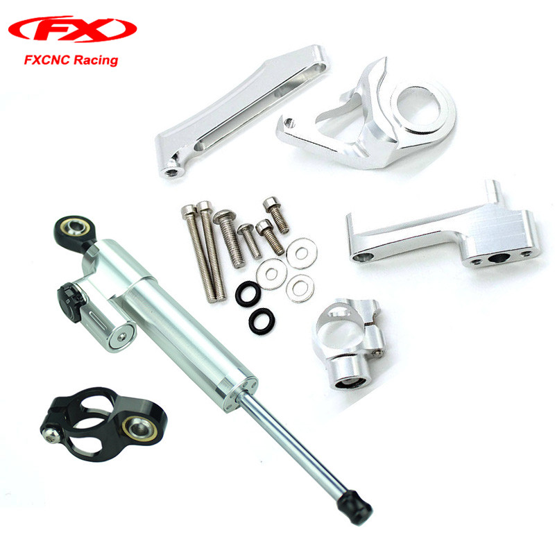 FXCNC Motorcycle Steering Damper Full Set Stabilizer with Mounting Brackets Kits for 1998-2016 SUZUKI GSXR1300 2014 2015