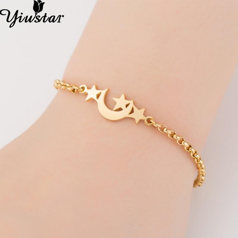 Yiustar Girls Bracelets Moon Star Stainless Steel Bracelet for Women Girls Jewelry Kids Jewellery Charm Beauty Elegant Joyeria