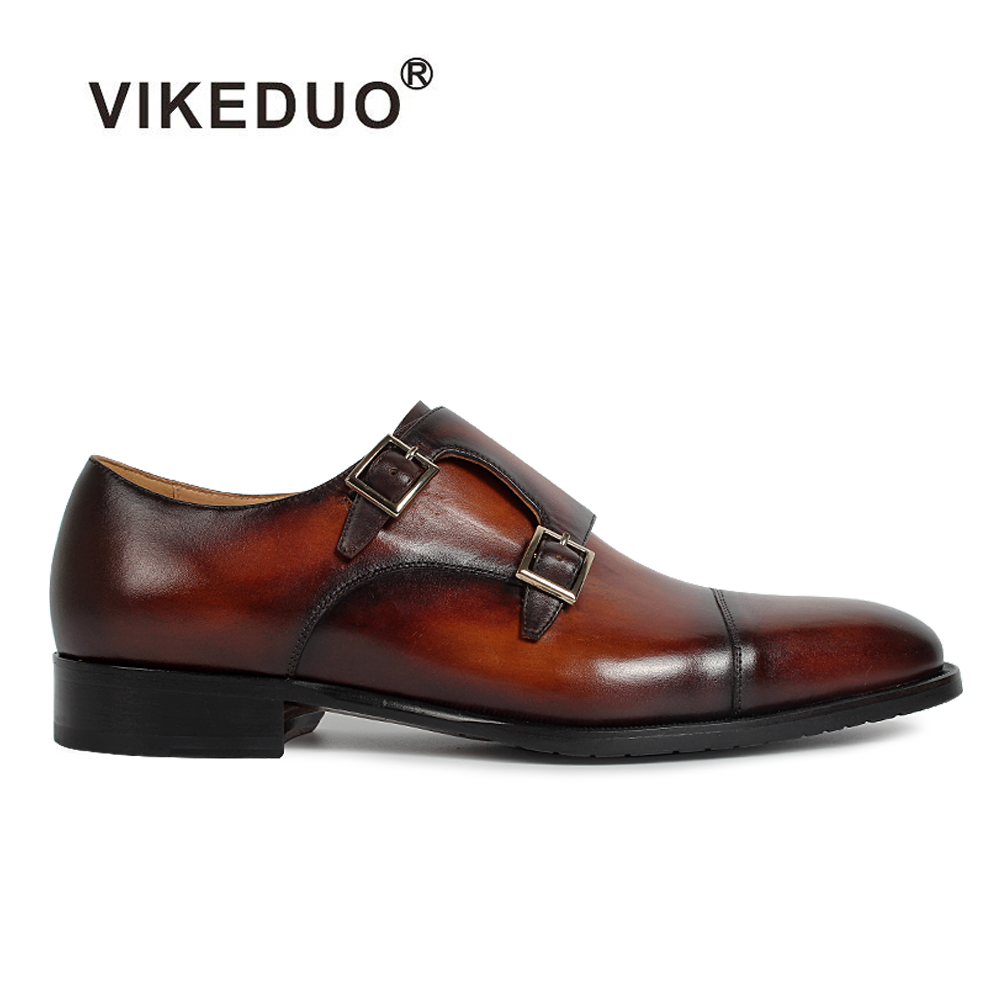 2018 Vikeduo Hot Handmade Custom Genuine Leather Shoes Party Wedding Dress Shoe Luxury Fashion Original Design Men Monk Shoes 2017 vintage retro custom men flat hot sale real mens oxford shoes dress wedding party genuine leather shoes original design