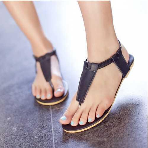 711d8cf1b32 2015 New Gladitor T-strap Sandals Brand T-strap Flip-flops Flat Sole  Sandals Summer Slippers Women Flats Ankle Strap Sandals