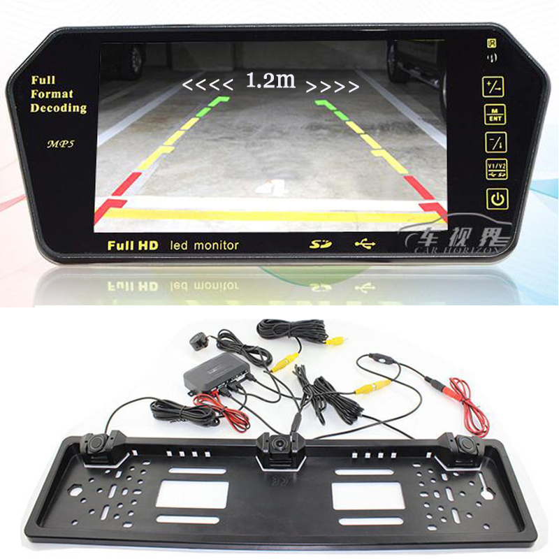 HD 7Inch LCD Color 1024 * 600 luetooth FM USB MP5 Monitor for Dual Core Visual Car Parking Sensor Russian license plate camere