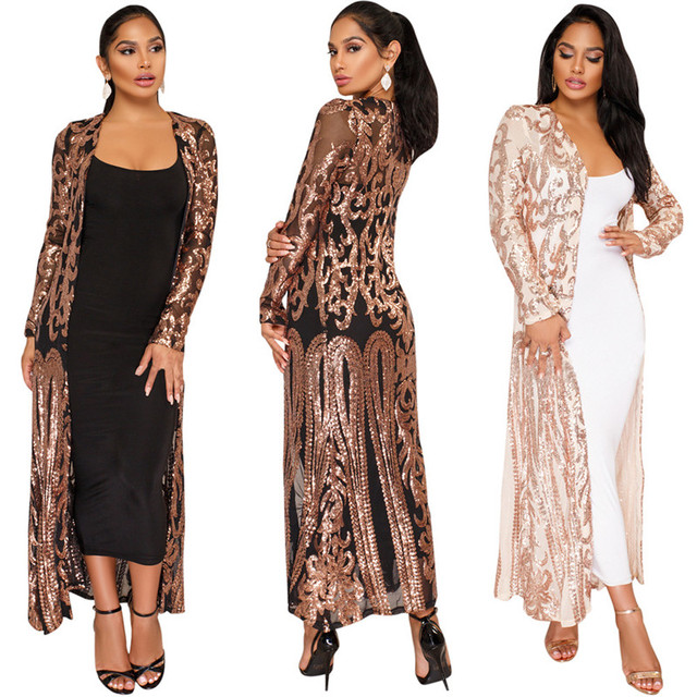 abbaeddd258 Elegant Sequin Maxi Long Dresses Cardigan Evening Party Sexy Mesh See  Through Dress Spring Autumn Long
