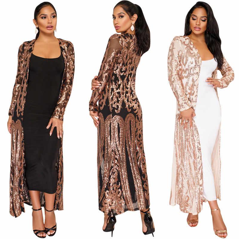 4d943f8721a Elegant Sequin Maxi Long Dresses Cardigan Evening Party Sexy Mesh See  Through Dress Spring Autumn Long