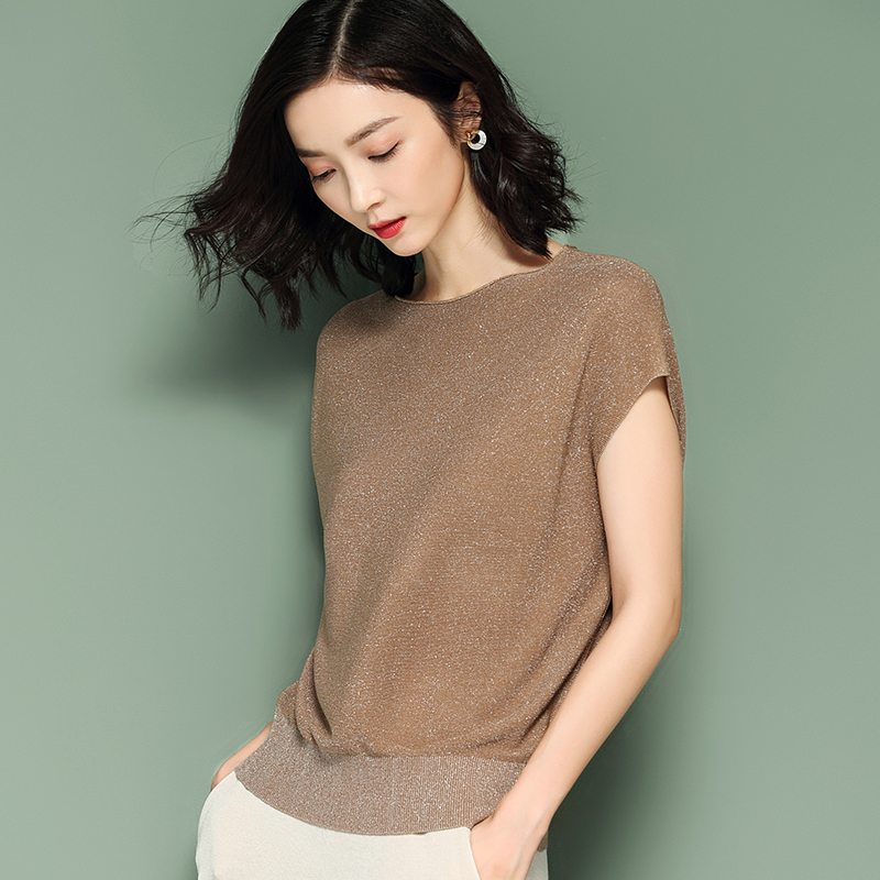 Gkfnmt Pullover Jumper Shirt Lurex Women Sweater Korean-Style Shiny Batwing-Sleeve Female