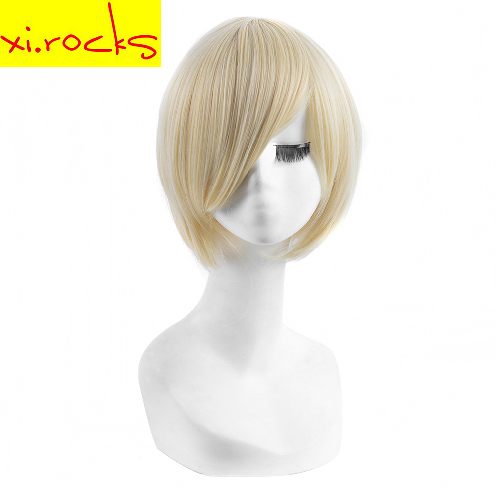 Xi.rocks Short Straight Synthetic Party Wigs Cosplay High Temperature Fiber Light Golden Blonde Bob Wigs For Child And Adults
