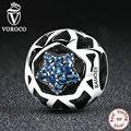 Voroco 925 sterling silver vintage estrelas azuis contas encantos fit pandora mulheres pulseiras & bangles jóias diy c057