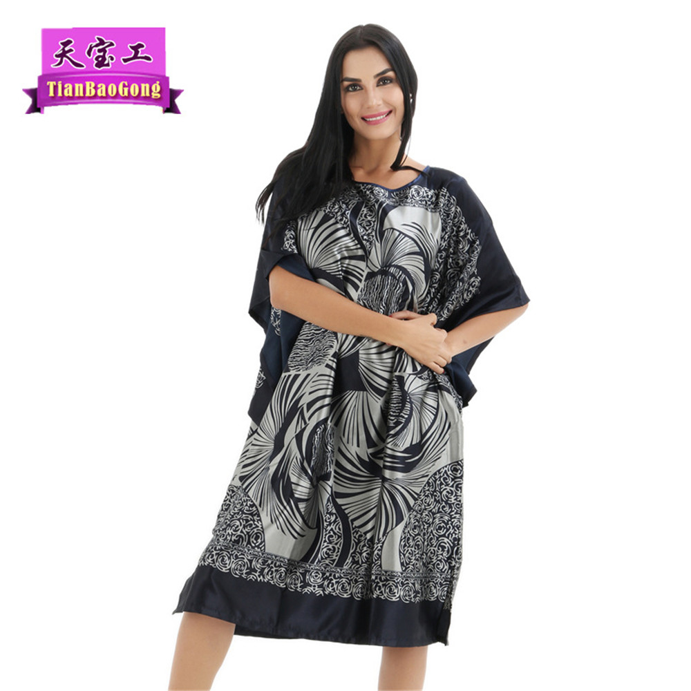 Top Fashion Summer Style Women   Nightgowns     Sleepshirts   Faux Silk Ladies Lounge night dress sexy silk nighties vintage printing