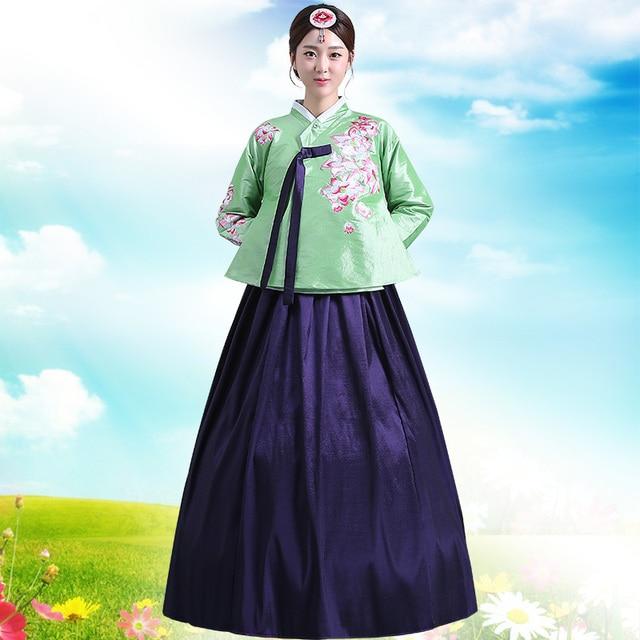 Novo Design de Luxo Coreano Hanbok Tradicional Hanbok Verde de Manga Longa Coreano Feminino Traje de Dança