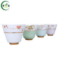 70ml High Quality Porcelain Gongfu Tea Cup With Handmade Painting Puer Tea Cup Oolong Tea Cup