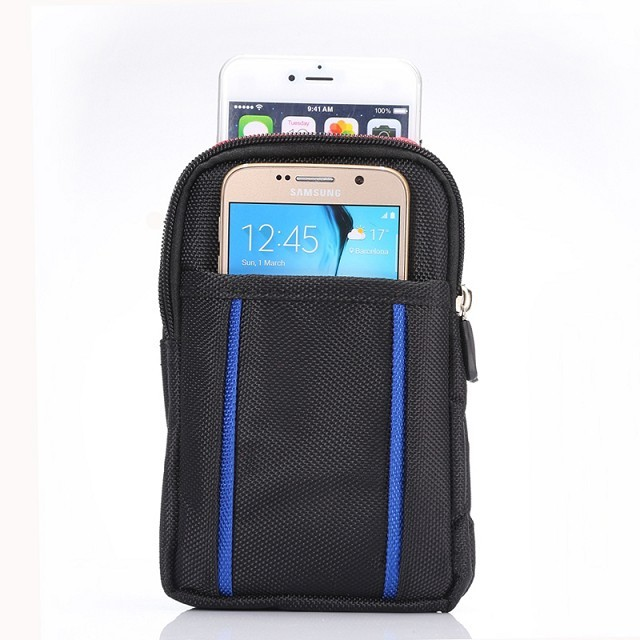 Universal Outdoor Double Pockets Bag With Belt Pouch Phone Cases For Samsung galaxy s6 s7 edge s5 s4 mini s3 note 4 7 Cover