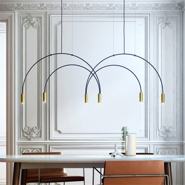 Nordic Art Geometric Semicircle Chandelier Creative Wrought Iron Atmosphere Restaurant Hotel Hall Studio LED Lamp Free Shipping