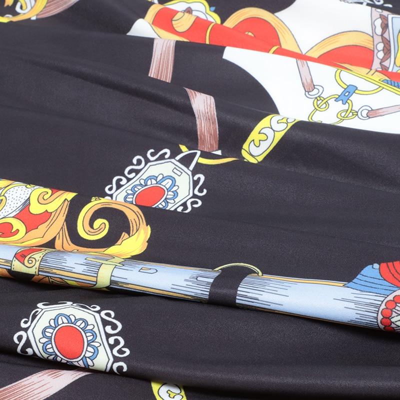 V Noir Supérieure Robes Printemps Imprimé Pleine Longues Piste Qualité Robe Manches Vintage Cou Femmes Design Floral 2019 Ceintures De Maxi q7wzxw8