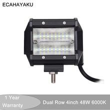 ECAHAYAKU 1x 4 inch Led Work Light Bar 12V 48W Flood Beam 24V 6000K for SUV Offroad ATV pickup Jeep Driving fog