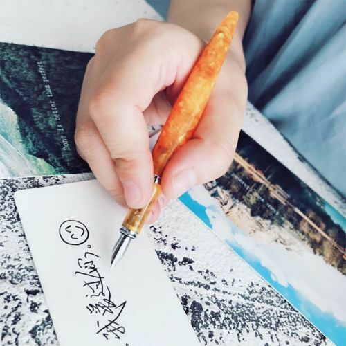 FULIWEN LOVE Orange Resin Fountain Pen Converter Fine Nib