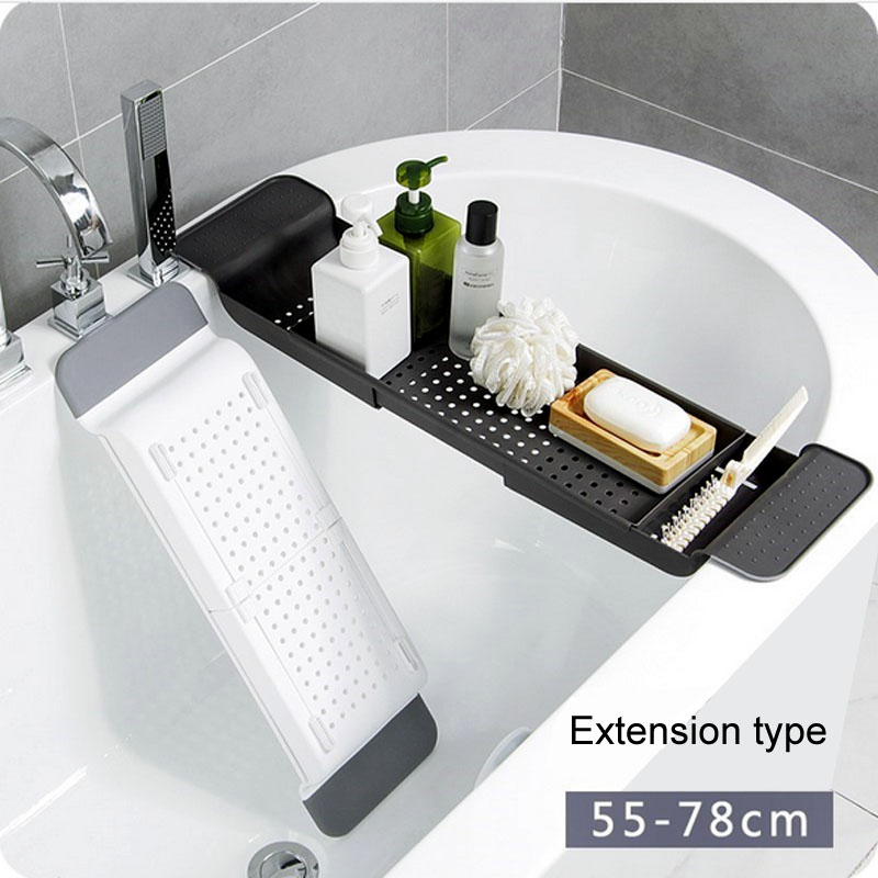 Bathtub Storage Rack Bath Tray Shelf Tub Retractable Bathroom Tools Makeup Towel Organizer Plastic Kitchen Sink Drain Holder