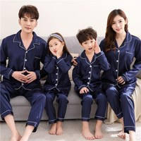 Father Mother And Daughter Son Pajamas Set Family Matching Clothes Silk Long Sleeve Sleepwear Children