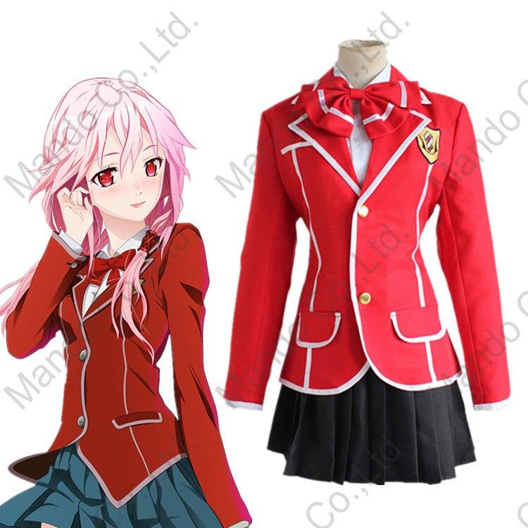 Anime Guilty Crown YUZURIHA INORI Cosplay Costume Girls School Uniform Dress Women Halloween Cosplay Party 3pcs Outfit