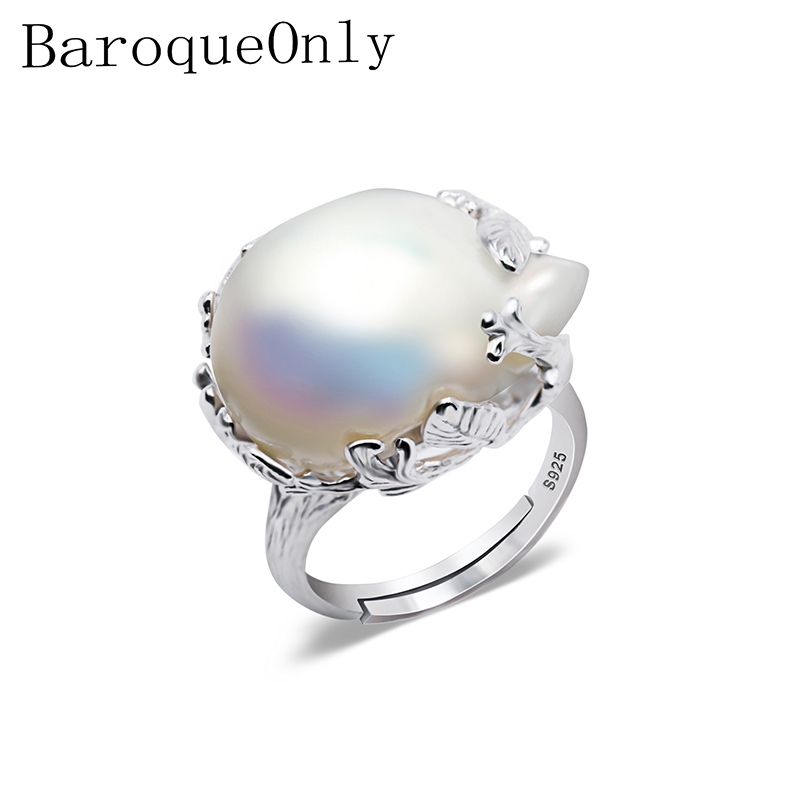 BaroqueOnly 925 Silver Ring 15-22mm Big Size Baroque Irregular Pearl Ring, Women Gifts