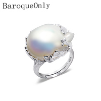 BaroqueOnly 925 Silver Ring 15 22mm Big Size Baroque Irregular Pearl Ring, Women Gifts