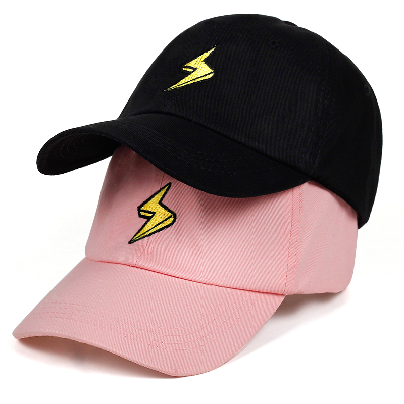 2019 new lightning Dad Hat Embroidered   Baseball     Cap   Curved Bill fashion brand snapback Hip-hop   cap   hats Bone Garros
