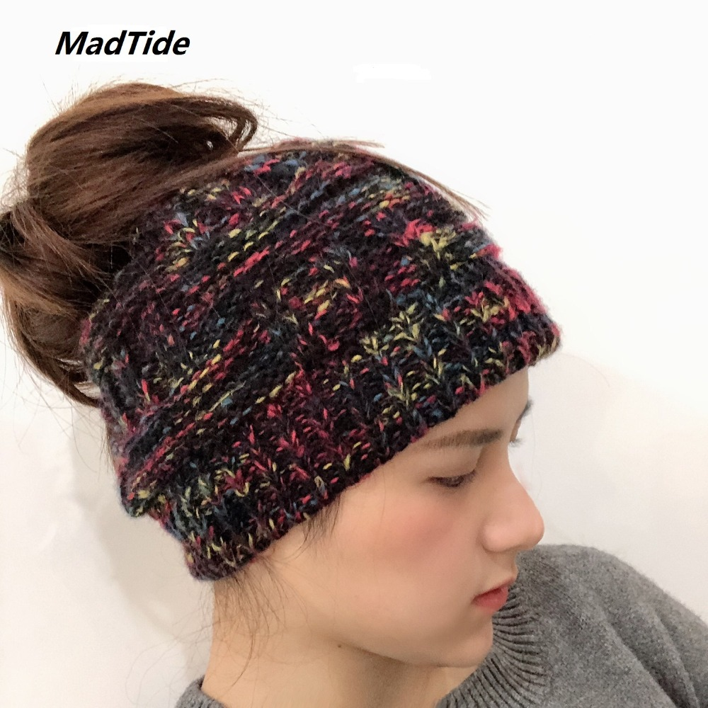 Soft Knit Ponytail Beanie Hat Soft Knit Messy Bun Winter Cap Women Skullies Beanies Warm Cap Fashion Knitted Woolen Crochet Hats