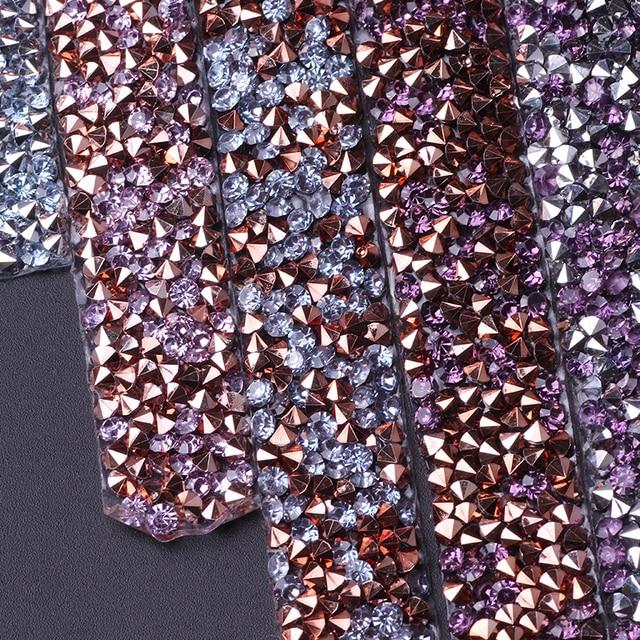 Prajna Rhinestone Tape Applique Hotfix Self Adhesive Rhinestones Trim Chain Artwork Wedding Dress Craft Decoration 1 Yard 1.5cm