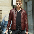 Autumn Winter Fashion European Style Man's Wine Red Black PU Leather Motocycle Jacket , Male Slim Fleece Thick Warm Jackets Coat