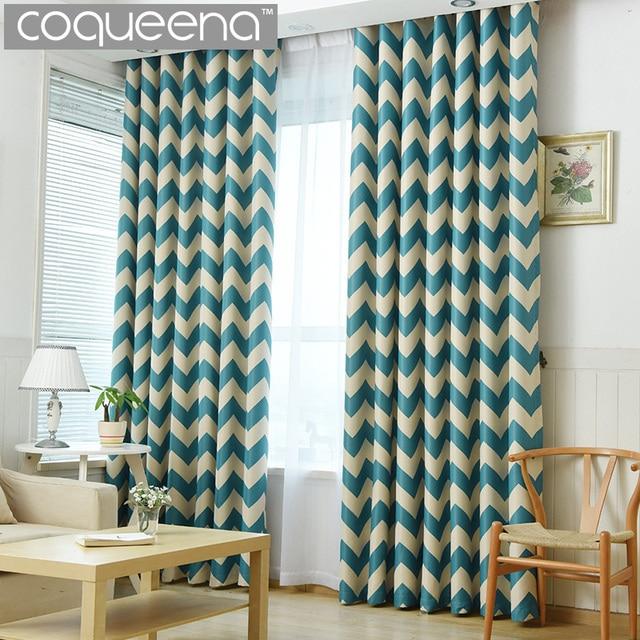 Elegant Chervon Design Blackout Curtains For Bedroom Modern Living Room Decorative Door D Teal