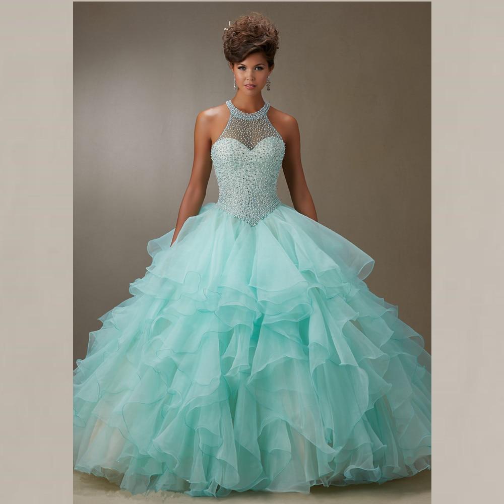 46de7f231d5 Lovely Rhinestone Beaded Halter Organza Layered Aqua Quinceanera Dresses  Ball Gown 2015