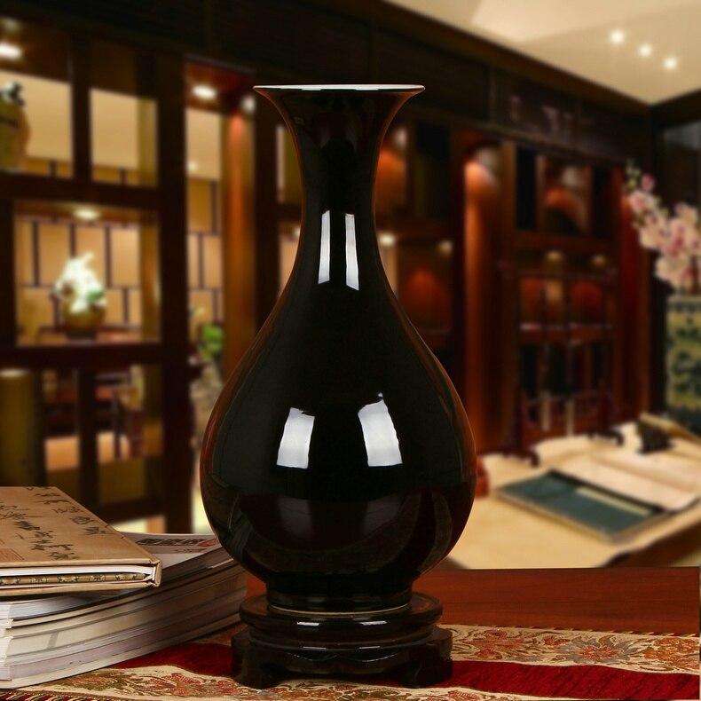 Jingdezhen Antique Vase Jingdezhen Noir Porcelaine Cristal Glaçure Fleur Vase Décor À La Maison À La Main Brillant Famille Rose Vases