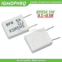 100pcs BPR56 5W 0.1R 0.15R 0.22R 0.25R 0.33R 0.5R Não indutivo Resistor Cimento Cerâmica 0.1 0.15 0.22 0.25 0.33 0.5 ohm