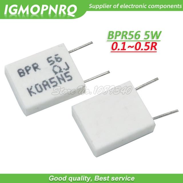 100pcs BPR56 5W  0.1R 0.15R 0.22R 0.25R 0.33R 0.5R Non inductive Ceramic Cement Resistor 0.1 0.15 0.22 0.25 0.33 0.5 ohm