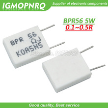100pcs BPR56 5W 0.1R 0.15R 0.22R 0.25R 0.33R 0.5R שאינו אינדוקטיביים קרמיקה מלט הנגד 0.1 0.15 0.22 0.25 0.33 0.5 אוהם