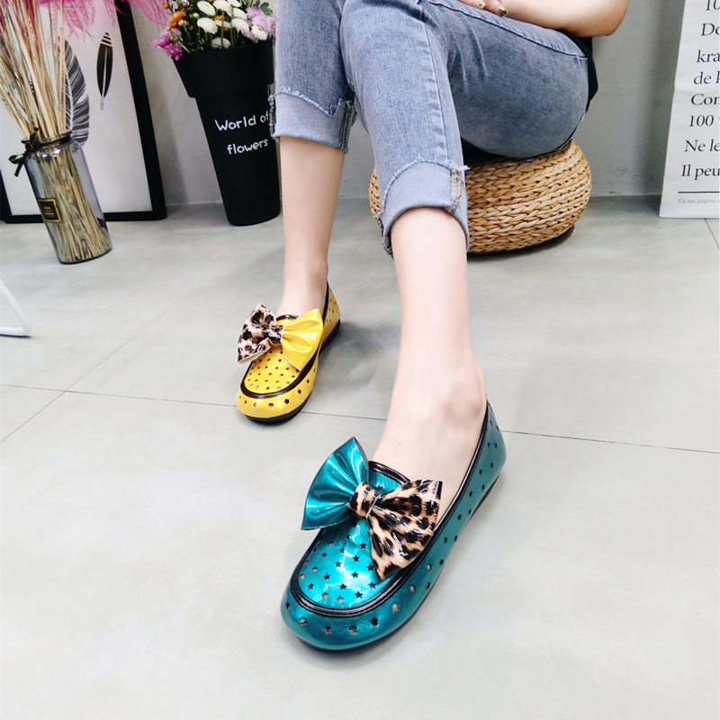 2019 new hole hollow patent leather bow leopard low shoes peas shoes lazy shoes women's shoes