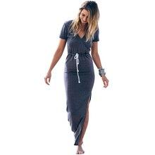 Халат платье личности стройные Для женщин с v-образным вырезом линии талии карандаш макси платье с коротким рукавом галстук талии карандаш длинное платье Повседневная разрез